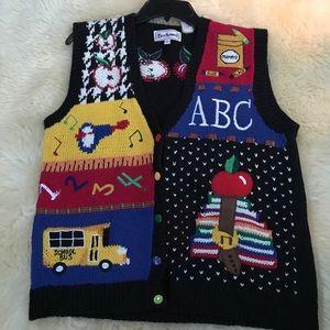 Teacher Cardigan Sweater Vest w school bus, apple